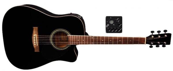 VGS D-10CE Westerngitarre mit Tonabnehmer Schwarz