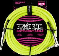 ERNIE BALL Instrumentenkabel Gewebe gerade / gewinkelt Neongelb EB6057