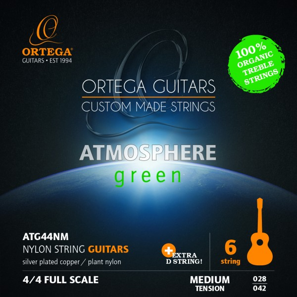 ORTEGA Green Series Gitarrensaiten Organic Nylon Treble Medium + Extra D Saite