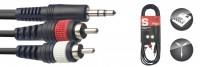 STAGG Y-Kabel 1x Miniklinke stere 2x Cinch SYC3/MPS2CM E 3 m