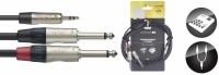 STAGG Audiokabel NUC1.5/MPS2PR  1x 3,5 Stereo Miniklinke - 2x Klinke 6,3 Male 1,5 m