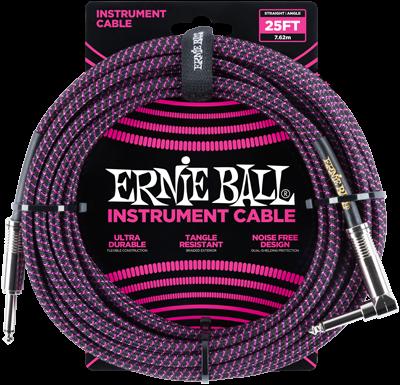 ERNIE BALL Instrumentenkabel Gewebe gerade / gewinkelt schwarz/neonviolett EB6068