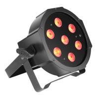 CAMEO FLAT PAR CAN TRI 3W - 7 x 3 W TRI Colour FLAT LED RGB PAR Scheinwerfer in schwarzem Gehäu