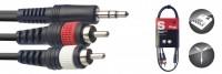 STAGG Y-Kabel 1x Miniklinke stereo 2x Cinch SYC1/MPS2CM E 1m