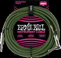 ERNIE BALL Instrumentenkabel Gewebe gerade / gewinkelt Schwarz/Neongrün EB6066