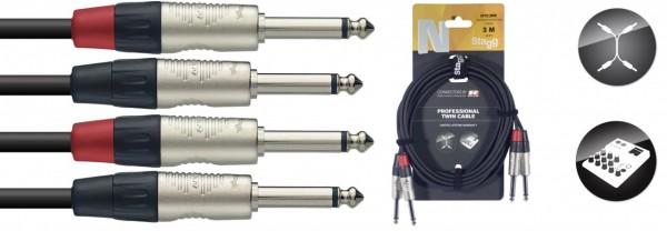 STAGG NTC3PR Twin Kabel Klinke Klinke Mono 3m