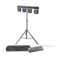 CAMEO Multi PAR - Set mit 28 x 3 W Tri Colour LED Lichtanlage mit Transportcase, 4-Fach Fußpedal und