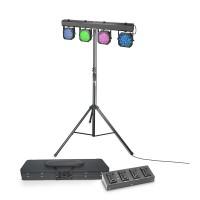 Cameo Multi PAR 1 SET - Set mit 432 x 10 mm LED Lichtanlage mit Transportcase, 4-Fach Fußpedal und S