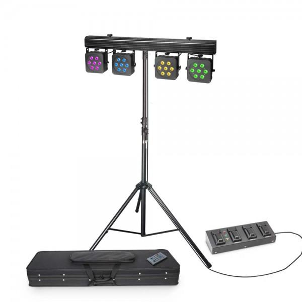 Cameo Multi PAR 3 SET - Set mit 28 x 8 W QUAD Colour LED Lichtanlage mit Transportcase, 4-Fach Fußpe
