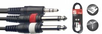 STAGG Y-Kabel 1x Miniklinke stereo 2x Klinke 6,3 mono SYC1/MPS2P E 1m
