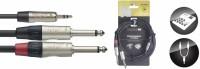 STAGG Audiokabel NUC3/MPS2PR  1x 3,5 Stereo Miniklinke - 2x Klinke 6,3 Male 3 m