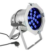 CAMEO PAR 64 CAN - 18 x 3 W TRI Colour LED RGB PAR Scheinwerfer in poliertem Gehäuse CLP64TRI3WPS