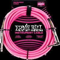 ERNIE BALL Instrumentenkabel Gewebe gerade / gewinkelt Neonpink EB6065