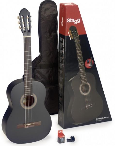 STAGG Konzertgitarre C340 M BLK Set - Matt Schwarz 3/4 Klassikgitarre