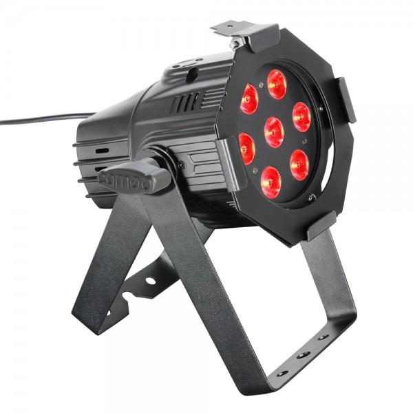 CAMEO Studio Mini PAR - 7 x 8 W QUAD Colour LED RGBW PAR Scheinwerfer in schwarzem Gehäuse CLPS