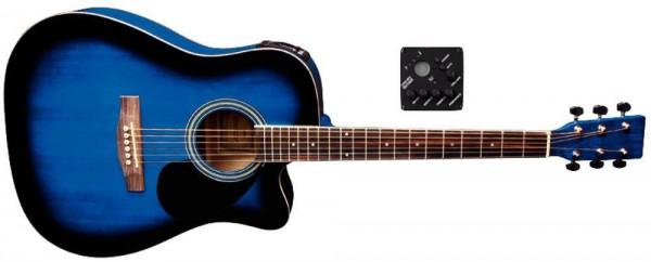 VGS D-10CE Westerngitarre mit Tonabnehmer Blueburst