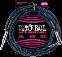 ERNIE BALL Instrumentenkabel Gewebe gerade / gewinkelt schwarz/neonblau EB6060