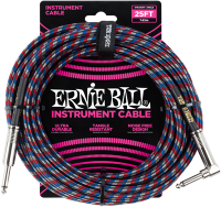 ERNIE BALL Instrumentenkabel Gewebe gerade / gewinkelt blau/rot/weiß EB6063