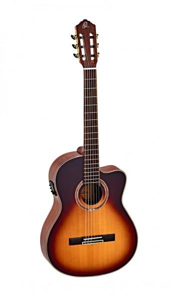 ORTEGA Feel Series Konzertgitarre 4/4 Schmaler Hals Honey Sunburst inkl. Tasche und Gurt